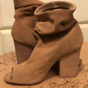Chinese Laundry Suede peep toe shoe boots